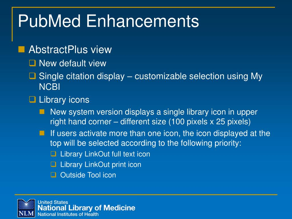 PubMed Enhancements