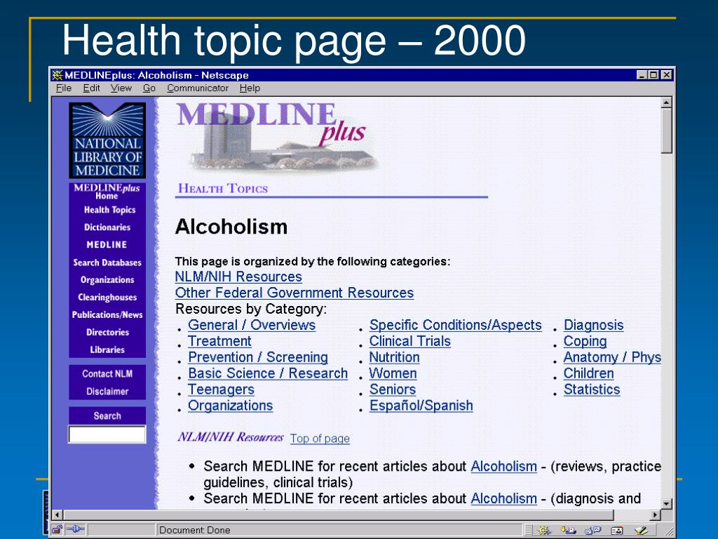 Health topic page – 2000