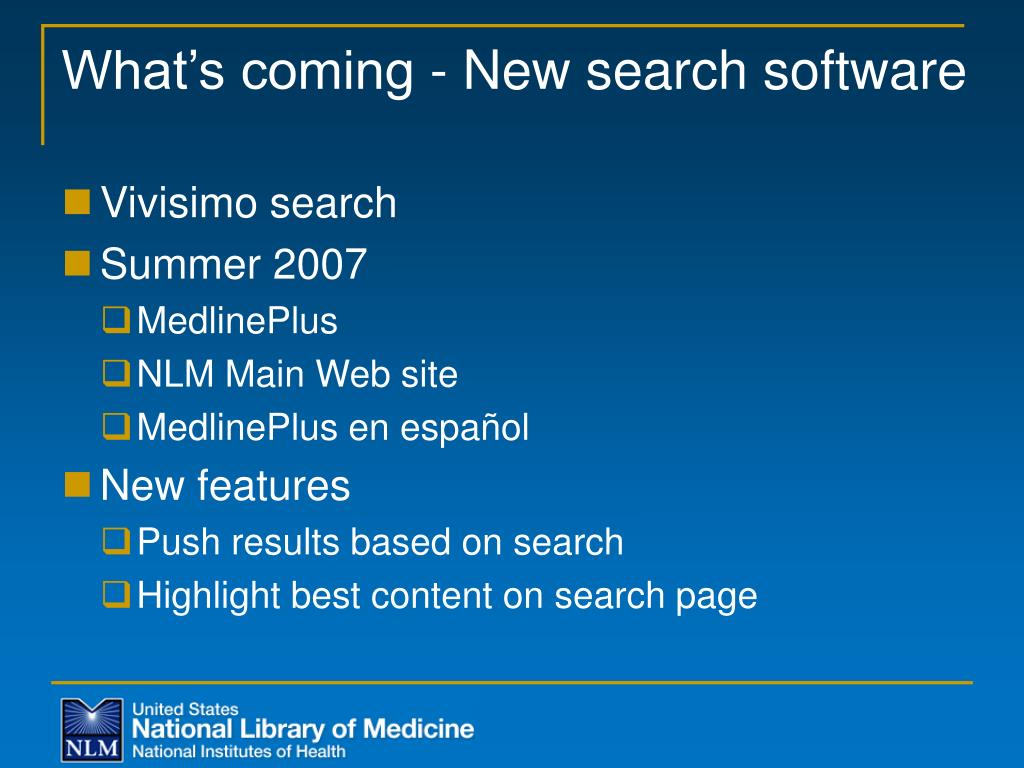 What's coming - New search software