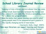 school library journal review continued