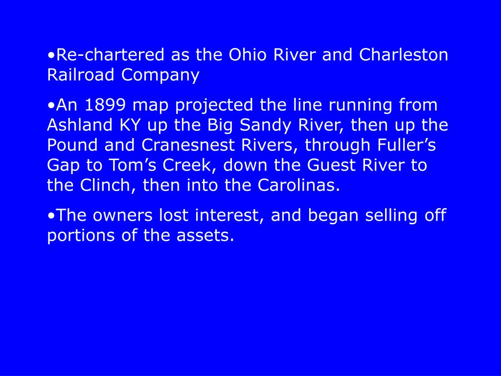 Re-chartered as the Ohio River and Charleston Railroad Company
