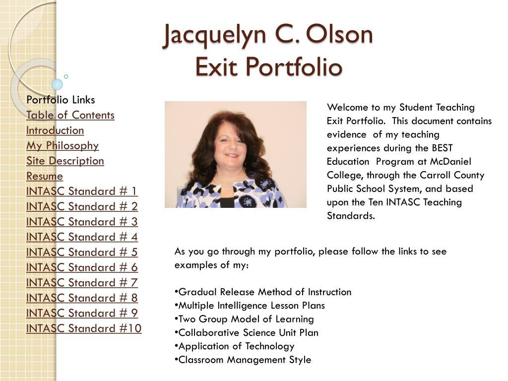 jacquelyn c olson exit portfolio l.