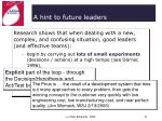 a hint to future leaders31
