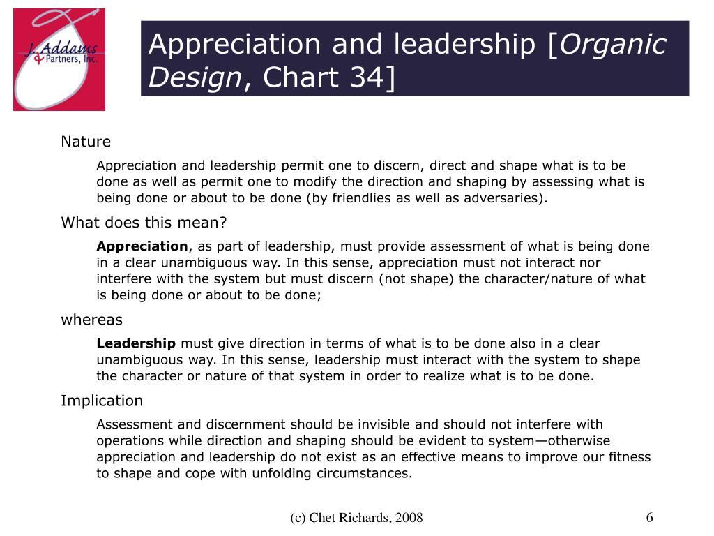 Appreciation and leadership [