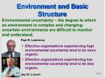 environment and basic structure