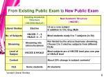 from existing public exam to new public exam