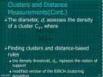 clusters and distance measurements cont