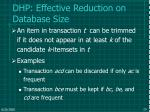 dhp effective reduction on database size