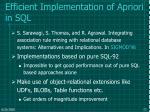 efficient implementation of apriori in sql