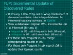 fup incremental update of discovered rules