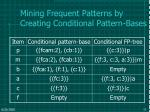 mining frequent patterns by creating conditional pattern bases