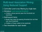 multi level association mining using reduced support