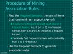 procedure of mining association rules