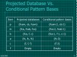 projected database vs conditional pattern bases