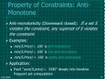 property of constraints anti monotone