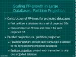 scaling fp growth in large databases partition projection