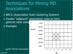 techniques for mining md associations