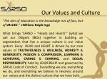 our values and culture