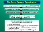 the basic tasks of organization