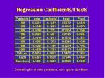 regression coefficients t tests
