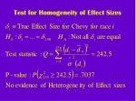 test for homogeneity of effect sizes