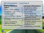 self assessment learnings observations