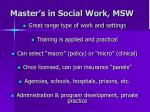 master s in social work msw