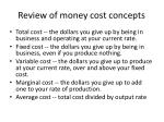 review of money cost concepts