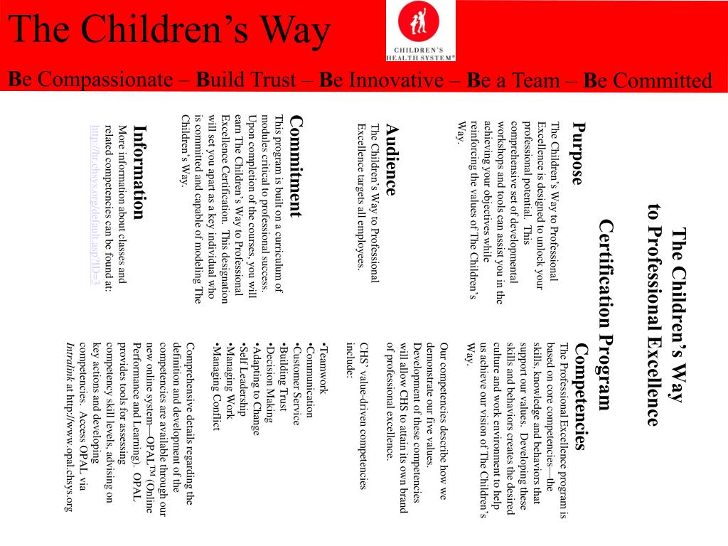the children s way to professional excellence certification program l.
