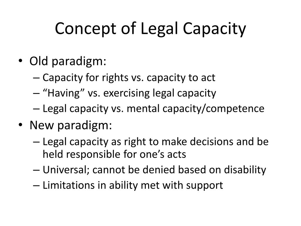 Concept of Legal Capacity