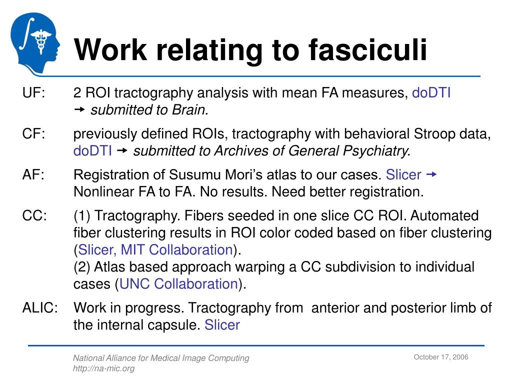 Work relating to fasciculi