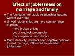 effect of joblessness on marriage and family