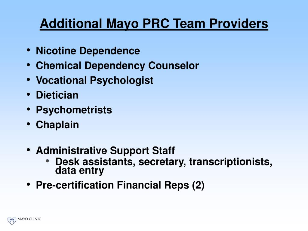 Additional Mayo PRC Team Providers