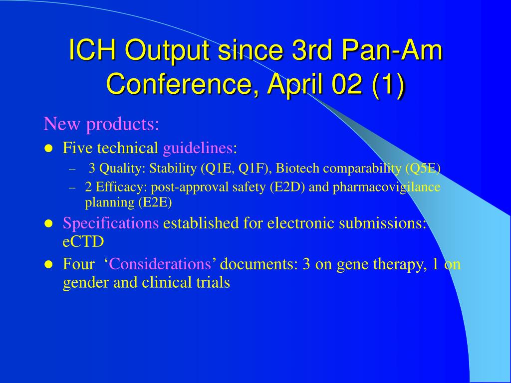 ICH Output since 3rd Pan-Am Conference, April 02 (1)