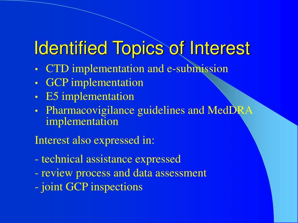 Identified Topics of Interest