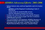 ahmha advocacy efforts 2005 2006