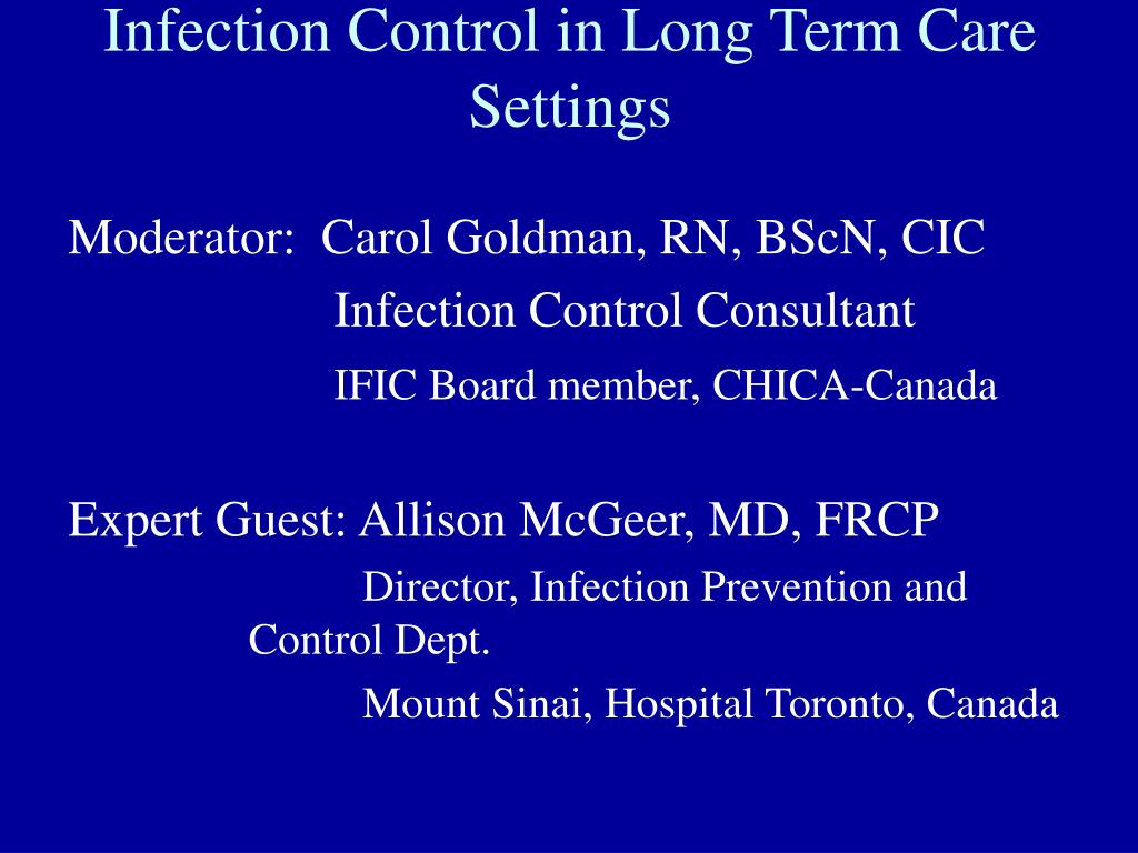 infection control in long term care settings l.