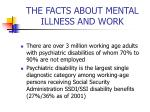 the facts about mental illness and work