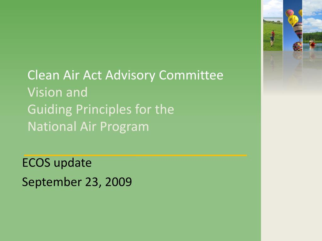 clean air act advisory committee vision and guiding principles for the national air program l.