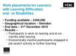 work placements for learners with learning difficulties and or disabilities