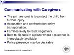 communicating with caregivers