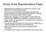 duties of the representative payee