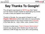 say thanks to google