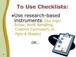 to use checklists