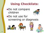 using checklists