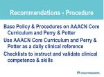recommendations procedure