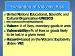 evaluation of volcanic risk