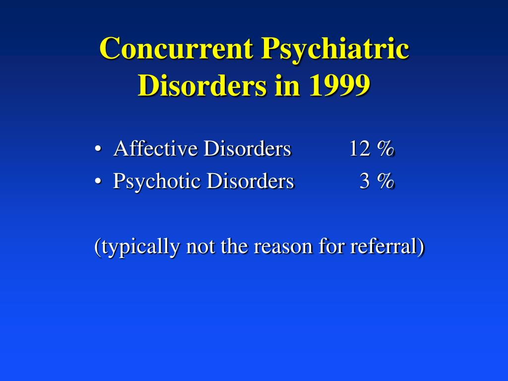 Concurrent Psychiatric Disorders in 1999