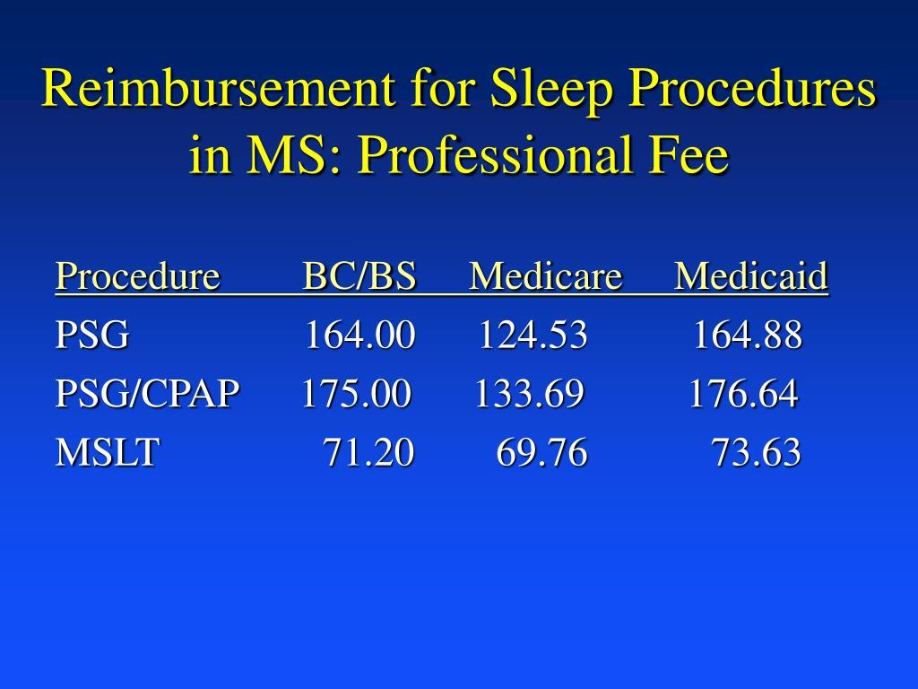 Reimbursement for Sleep Procedures in MS: Professional Fee