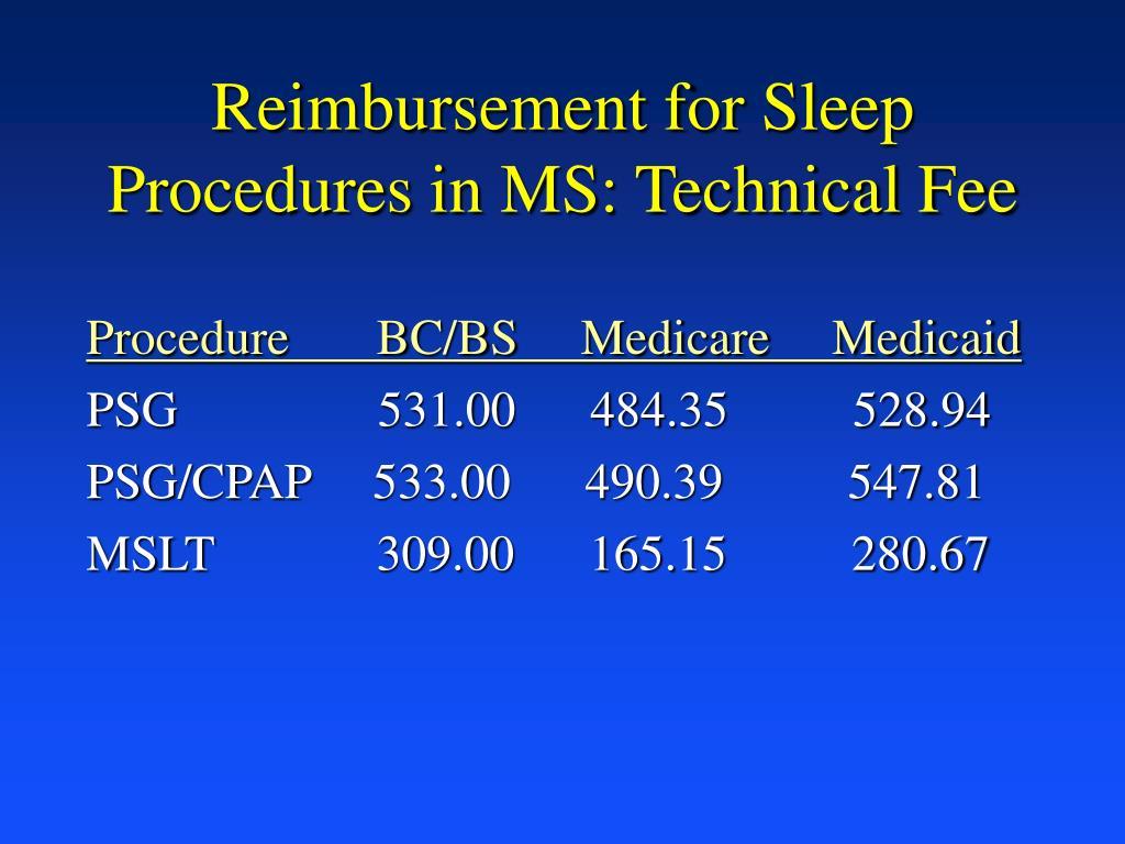 Reimbursement for Sleep Procedures in MS: Technical Fee